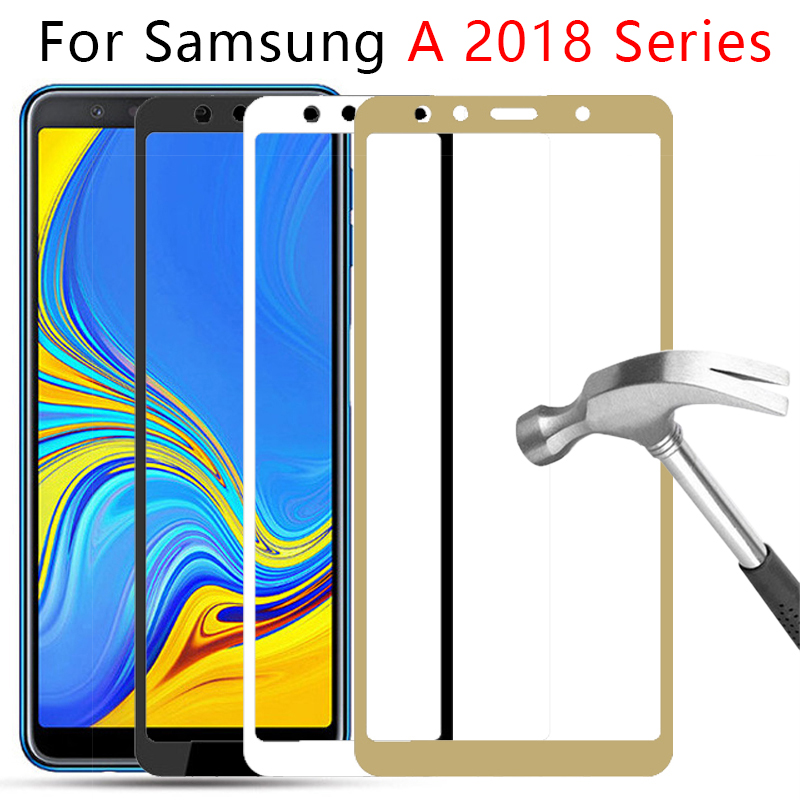 <font><b>Case</b></font> For <font><b>Samsung</b></font> Galaxy A5 A6 <font><b>A7</b></font> A8 Plus A9 <font><b>2018</b></font> Full Cover Tempered Glass On The Samsun Gelaksi A 5 6 7 8 9 Screen Protector 9h image