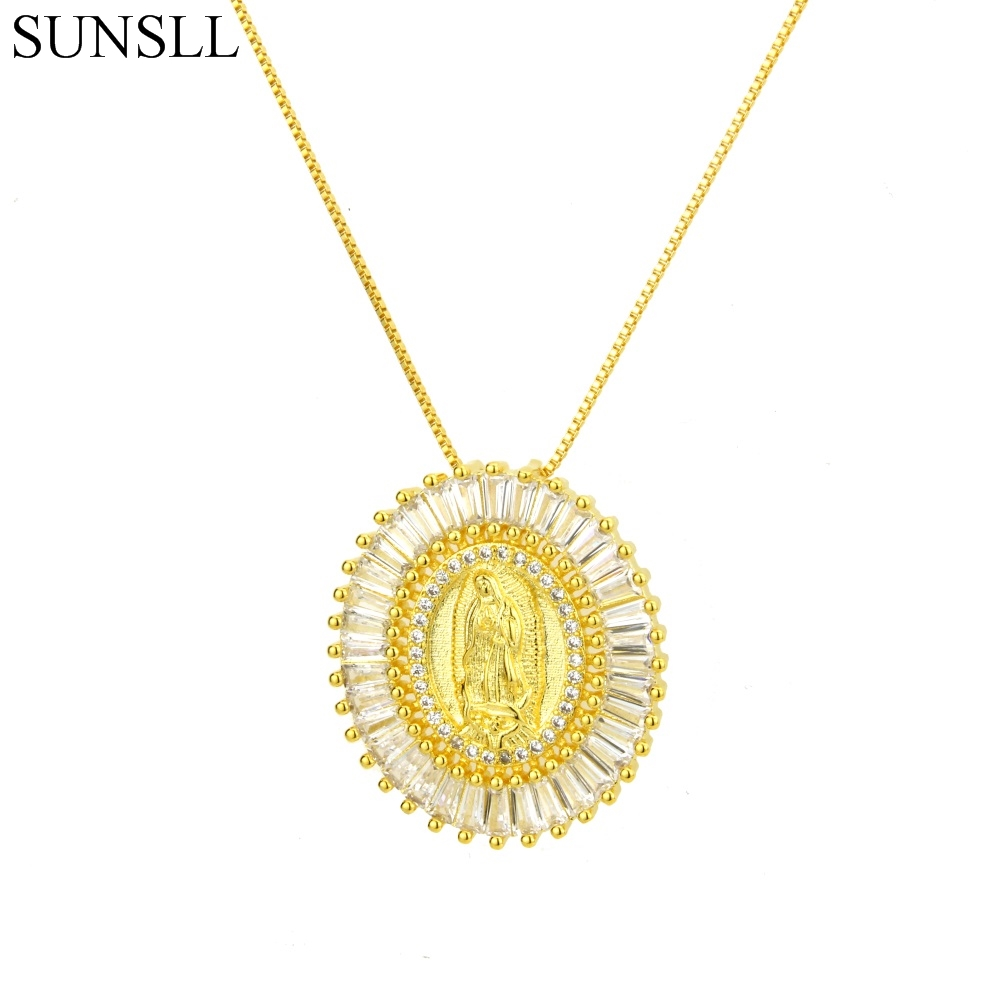 83544d221 SUNSLL 3 Color Copper White Color Cubic Zirconia Oval Pendant Necklaces Women's  Fashion Jewelry CZ Colar Feminina