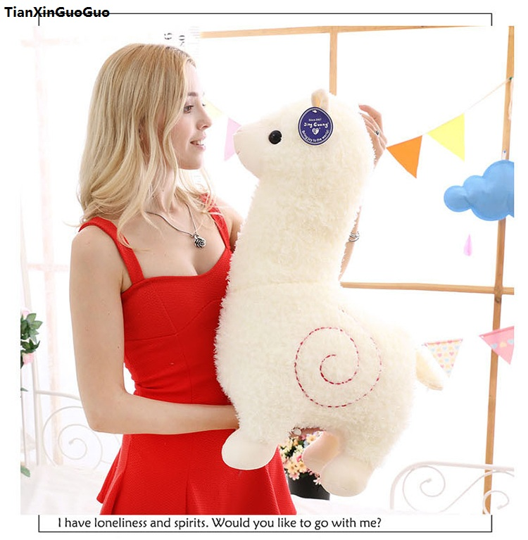 fillings toy large 75cm white cartoon alpaca plush toy soft doll hugging pillow birthday gift s1055 cartoon glasses panda in yellow cloth large 70cm plush toy panda doll soft pillow christmas birthday gift x031