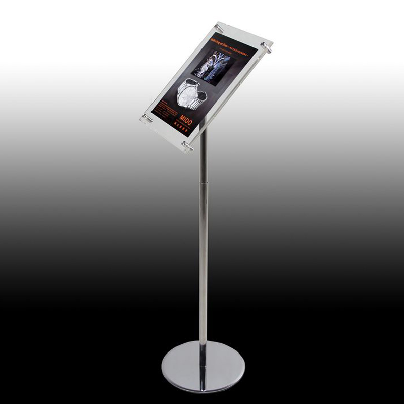 A4 Adjustable Floorstanding Silver Stainless Steel Advertising Led Light Pockets, Floor LED Signage Holders