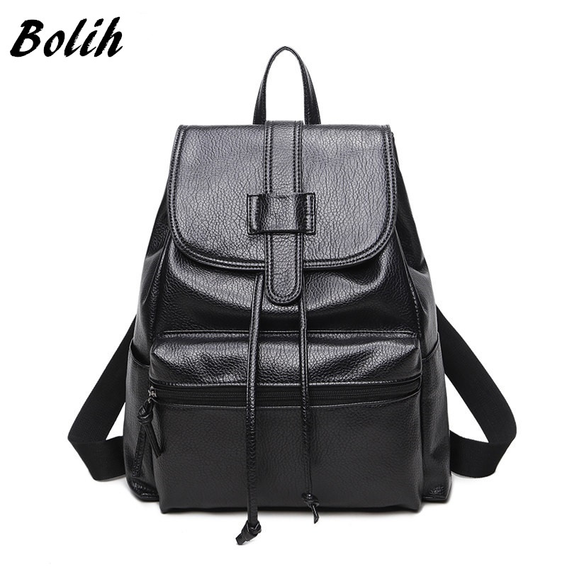 Bolish PU Leather Women Female Backpack Preppy Style Girls School Bag Larger Size Travel Rucksack Black Color Ladies Daypack primary school students school bag 3 6 candy color preppy style backpack