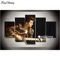 REALSHINING 5 Pcs 5d Diy Diamond Embroidery Singer Star Elvis Presley Multi Picture Diamond Painting Cross