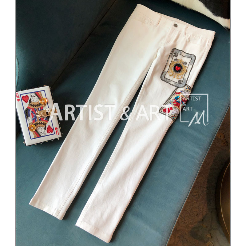 Svoryxiu Designer Brands Slim White Jeans Women's Manual Beading Sequined Poker Cards Embroidery Boutique Jeans