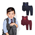 2015 New children's leisure clothing sets kids baby boy suit vest gentleman clothes for weddings formal clothing