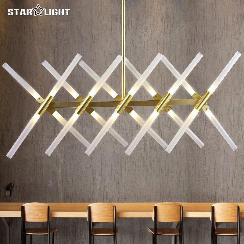 Weissem Milchglas Rohr Schatten Lampe Moderne Goldene Schwarz X Kronleuchter Grosse Mode Flexible Indoor Decke