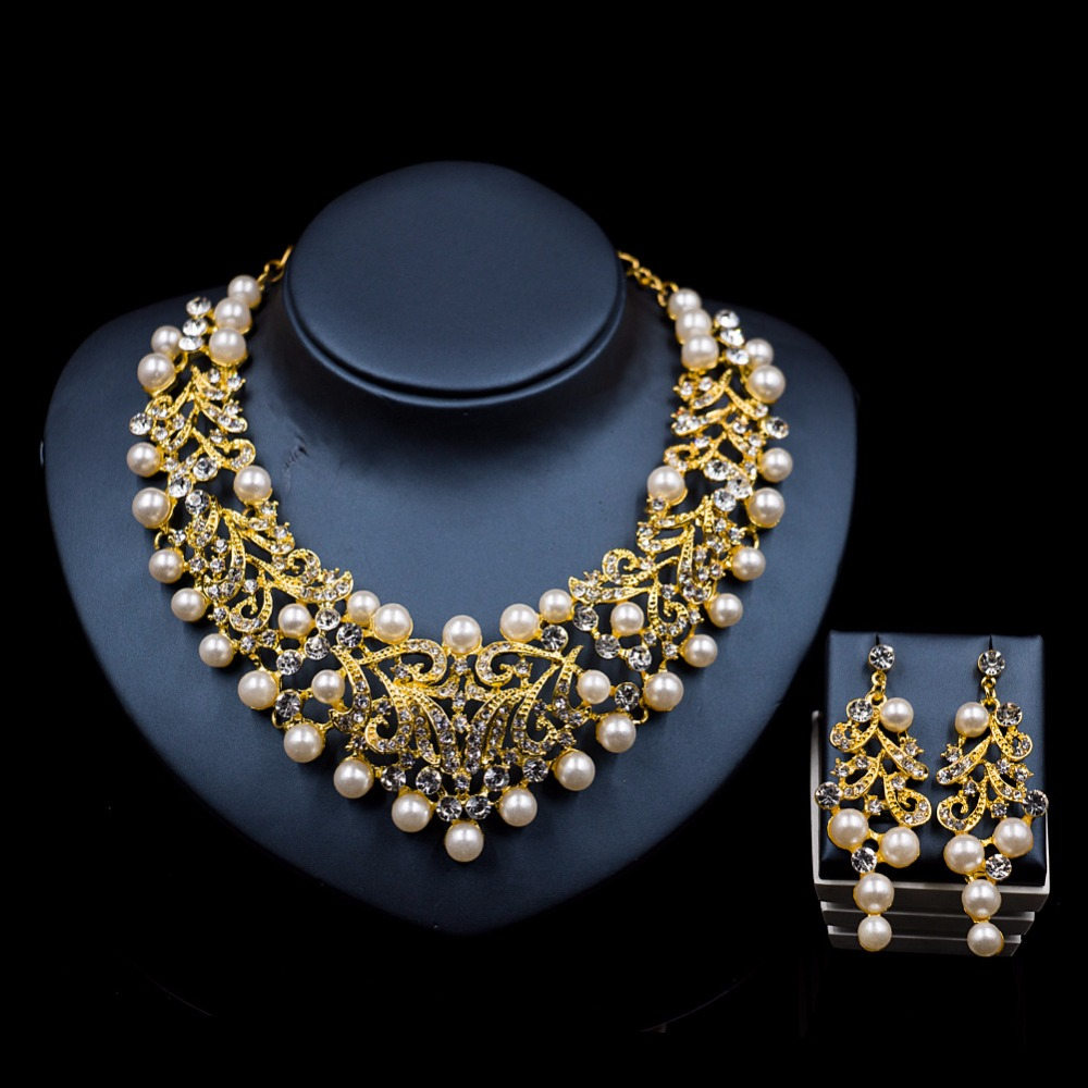 Fashion Pearl Statement Necklace Earrings Bridal Jewelry Sets Bride Gold  Color Jewellery Wedding Prom Dress Accessories