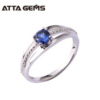 Women Fine Jewelry Sterling Silver Ring Round 5mm Created Sapphire 925 Silver Ring Simple And Fashion