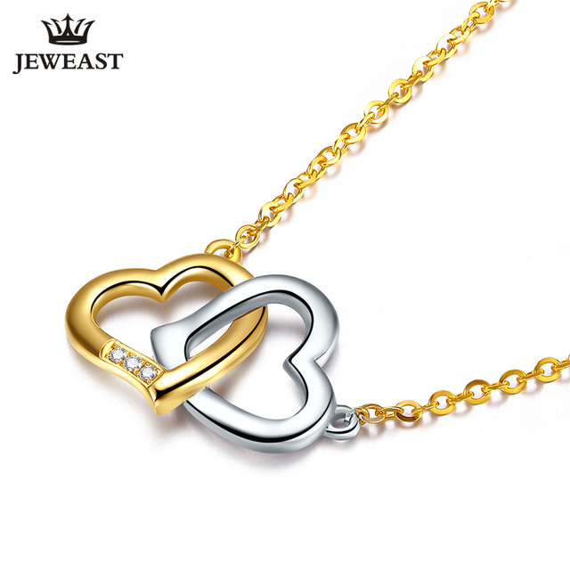 18K Gold Diamond Necklace Pendant Love Heart Lock Chain charm Gift Rose real natural pure women girl lover couple wedding party 2