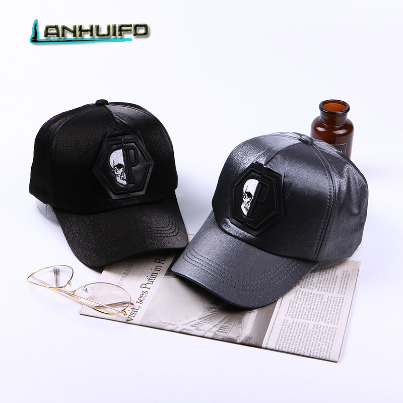 LANHUIFD Men And Women Skull Head  Baseball Cap Couples Fashion Wild Bend The Hat Korean Version Of Shade Trend Hat Monster Bone a new set of head cap cotton scarf dual purpose male and female geometric pattern of baotou hat