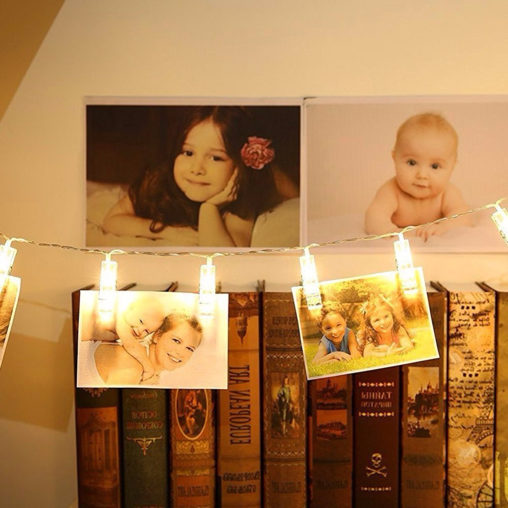 20 LED Photo Clip String Lights Clip String Lights Battery Powered for Hanging Photos Paintings Pictures Card and Memos Indoor D