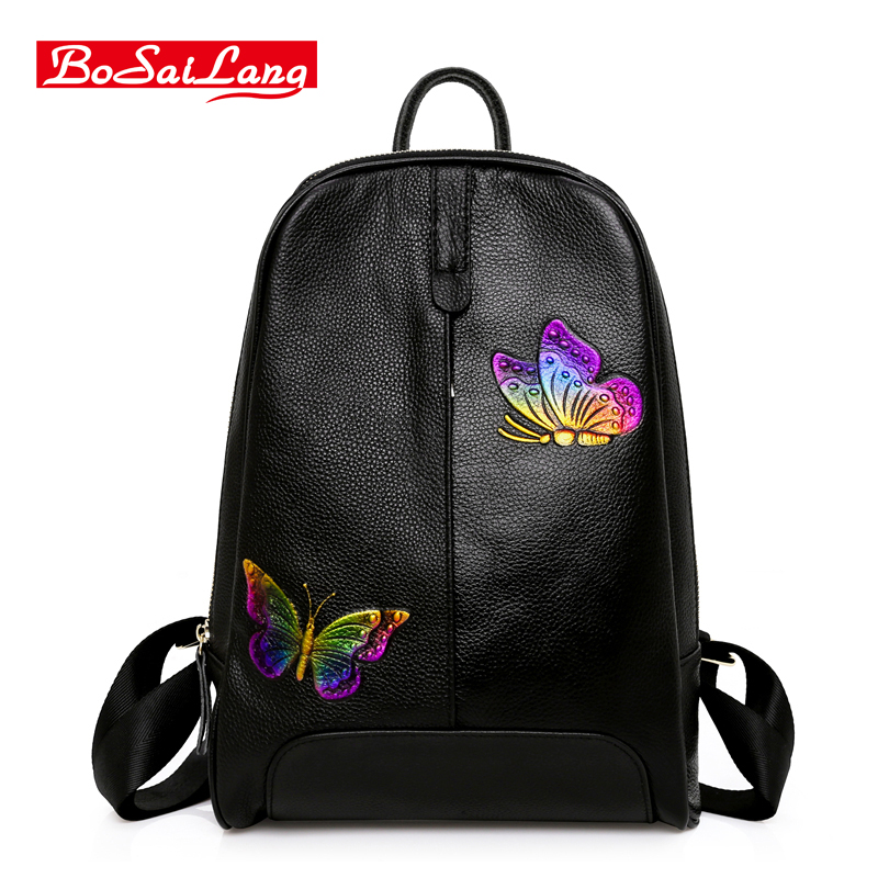 Women Genuine Leather Backpacks Brand Ladies Fashion Backpacks For Teenagers Girls School Bags Real Leather new brand designer women fashion backpacks simple koran style school for teenager girls ladies shoulder bags black