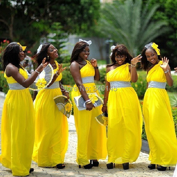 One Shoulder Yellow Chiffon   Bridesmaid     Dress   Ruched Sashes A Line Long Vestidos De Festa for Wedding Guests Scoop