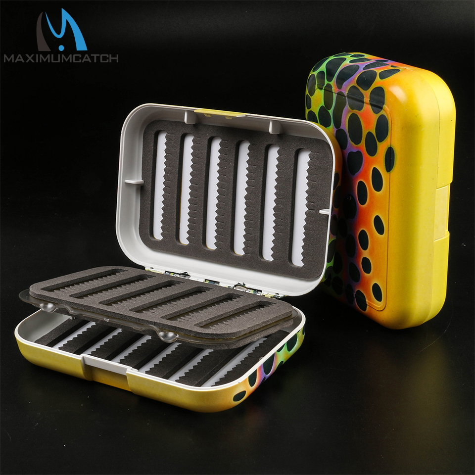 Maximumcatch Trout Skin Fly Fishing Box with Swing Leaf Slit Foam Insert Fishing Tackle Box maximumcatch slim fly box silicone insert 100