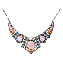 Large Resin Flower Geometric Pendants Necklaces Statement Vintage Gold Plated Colorful Blue Beads Choker Necklace for