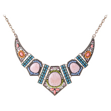 Large Resin Flower Geometric Pendants & Necklaces Statement Vintage Gold Plated Colorful Blue Beads Choker Necklace for Women