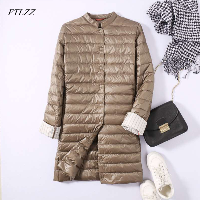 FTLZZ Women Ultra Light Duck   Down   Long Jacket Spring Winter Padded Warm   Coat   Female Overcoat   Down     Coat   Portable Parkas