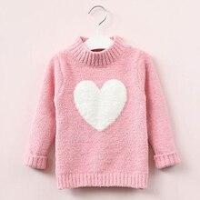 Свитер для девочек; коллекция года; теплый весенний вязаный свитер с длинными рукавами для маленьких девочек пуловер для девочек свитер с сердечками для девочек 4-8 лет