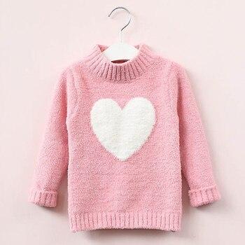 סוודר ילדה 2019 חורף ארוך שרוול חם אביב סרוג תינוק בנות סוודר בנות בסוודרים למעלה 4 8 שנים לב סוודר בנות