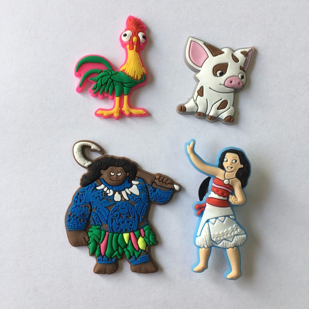 Hot Sale 4pcs/lot Ocean Princess Moana PVC Shoe Charms/shoe accessories/shoe decoration for shoes/ Wristbands kids xmas gift 9pcs lot the secret life of pets pvc shoe charms shoe accessories shoe decoration for shoes wristbands kids xmas gift