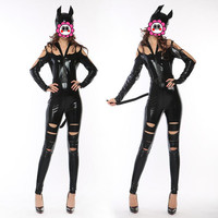 Abbille New Style Adult Costume Cat Women Leather Jumpsuit Nighty Hot Sexy Catwoman Catsuit Black Cat