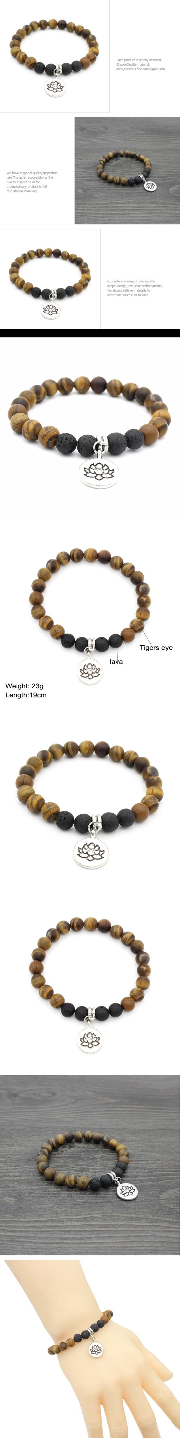 Tiger Eye Lava Stone Bracelets Women Buddha/Lotus/Ohm Charm Bracelet Men Beaded Bracelet For Women's Gift Yoga Jewelry Drop Ship
