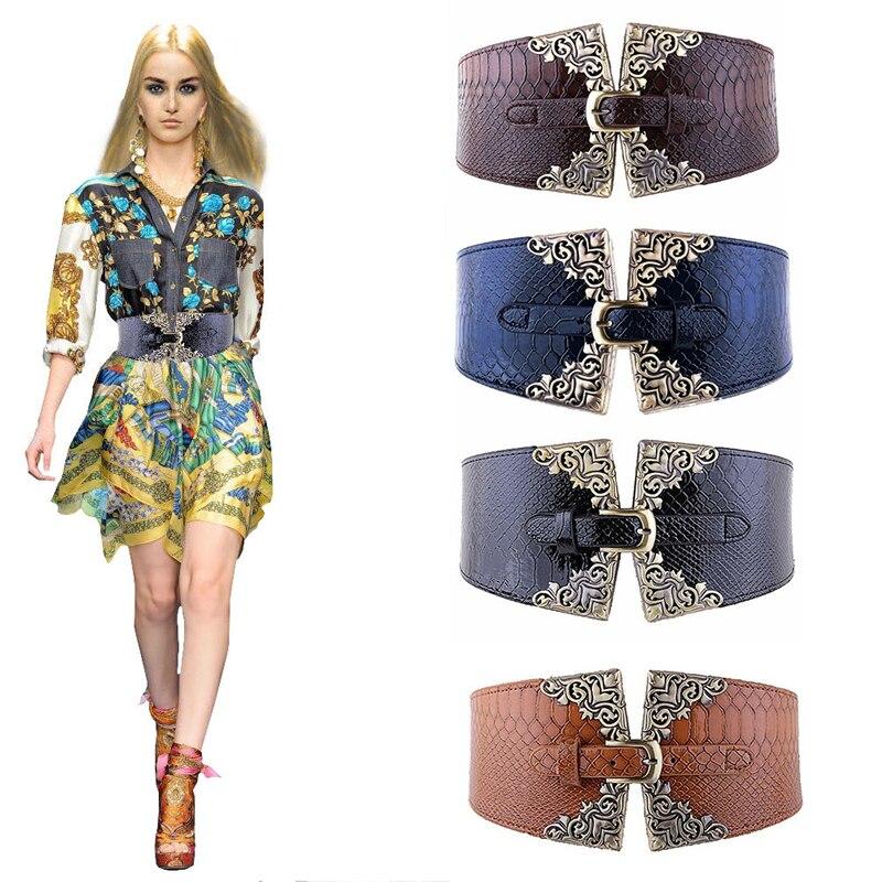Fashion Lady Women Elastic Waistband Wide Waist Belt Retro Metal Buckle Leather