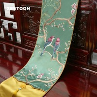 Chinese Style Embroidered Flower Bird Table Runner TV Cabinet Long Mats Decor Tablecloth Pad Wedding Decor Hotel Bed Flag Gift