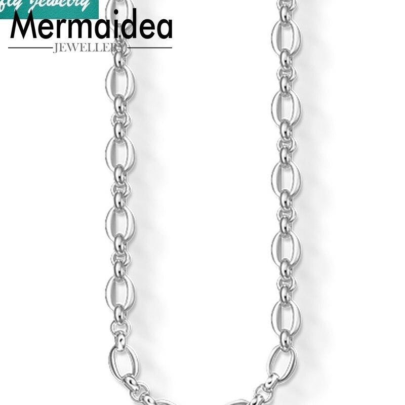 Chaîne à maillons larges colliers femmes hommes à la mode Style 925 en argent Sterling Cool mode bijoux marque bricolage cadeau bijoux