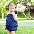 2016 Baby Girls Bodysuits White blue Onesie Newborn Babies Clothes Bebes Summer Children Climb Set Lace Jumpsuit Triangle