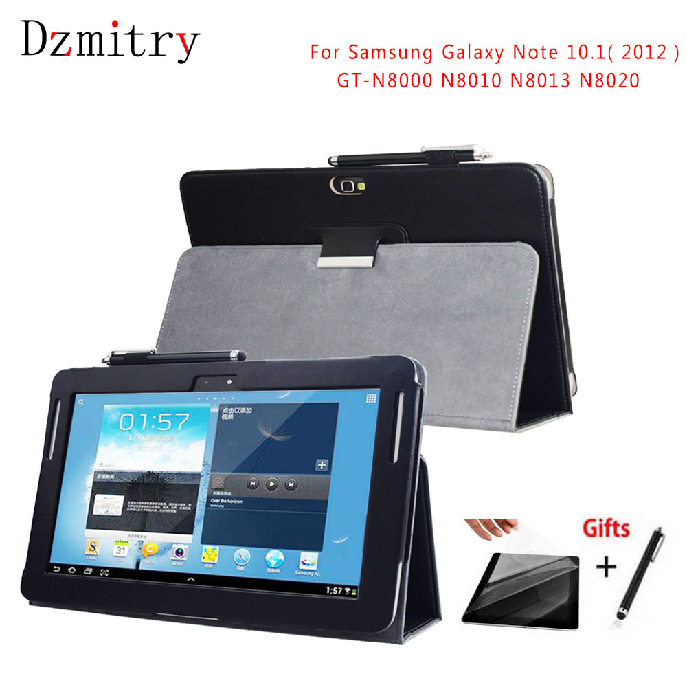 PU Leather Stand <font><b>Case</b></font> For Samsung Galaxy Note 10.1(2012)<font><b>GT</b></font>-<font><b>N8000</b></font> N8010 N8013 N8020 Tablet protective Cover+Film+Stylus Pen image