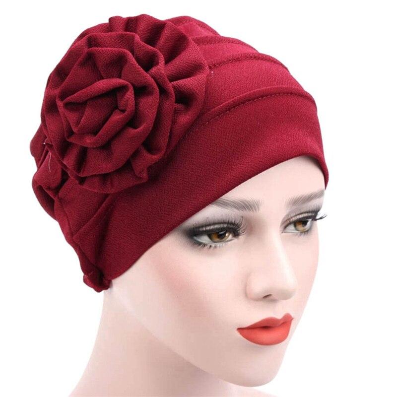 Fashion Women Cap Polyerter Flower Cancer Chemo Beanie Solid Color Ladies Baggy Hat Muslim Inclusive Caps