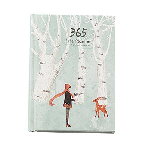 Creative Hardcover Year Plan Notebook 365 Days Inner Page Monthly Daily Planner Organizer Diary, White+green Snow deer 140 page note paper creative fruit design