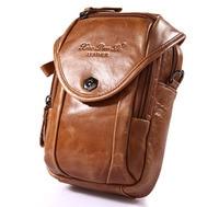 Men Genuine Leather Real Cowhide Messenger Shoulder Cross Body Bag Small Purse Cigarette Hip Belt Multi purpose Fanny Waist Pack