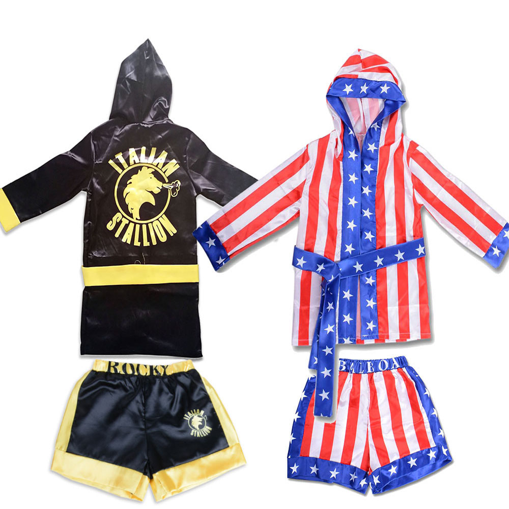 Children Halloween Boys Girls Rocky Balboa Costumes Movies Apollo Cosplays for Children's Party Carnival Performance Shirts image