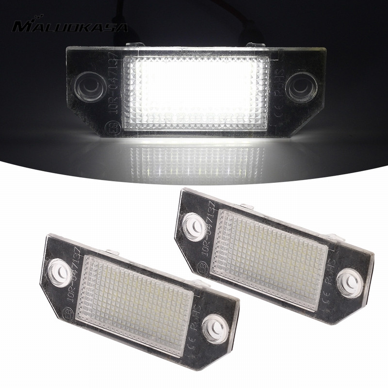 MALUOKASA 2x 2538SMD Number License Plate Light Error Free Car Lamp Indicators Turn Signals For Ford Focus MK2 C-MAX I 2003-2007 2x no error led license plate light for gmc terrain buick encore lacrosse verano car styling accessory tail number plate lamp