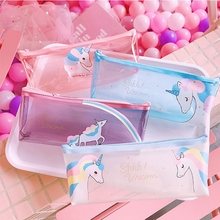 Unicorn Pencil Case Transparent Pencil Cases for Boy Girl Cute PVC Rainbow Pen Bag School Supply Stationery Pouch Kawaii Pen Box