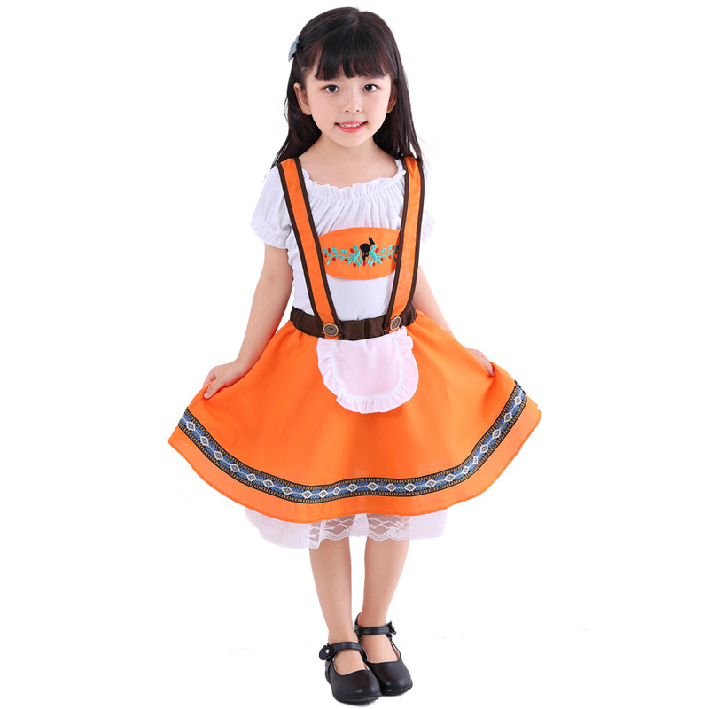Children Oktoberfest Lederhosen with Suspenders Costumes For Girl  Boys Halloween Party Waiter Maid Costumes Size S-XL
