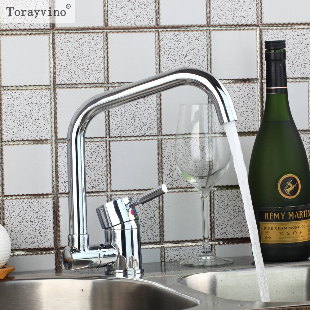 Torayvino Style Kitchen Faucet Chrome Polished Deck Mounted Single Handle Hot Cold Water Beautiful  Eminent Kitchen Faucet torayvino tap bathroom shower faucet with chrome polished cold