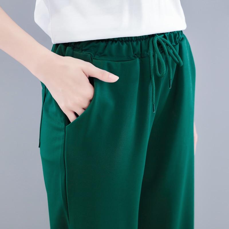 Lacing Wide Leg Pants Women 2019 Autumn Winter Vintage Korean High Waist Pants Pockets Design Loose Long Pants Green Trousers