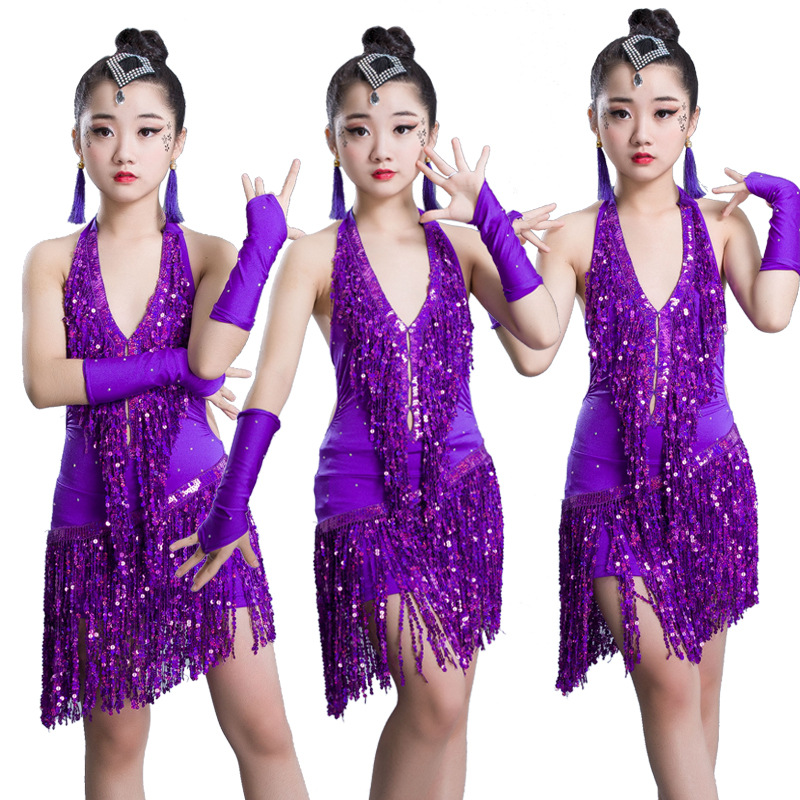 Girls Sequin Fringe Professional Latin Salsa Cha Cha Ballroom Dance Competition Dress Costumes For Kids Dancing Clothes Clothing