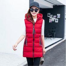 Brieuces Autumn winter women cotton vest New Fashion Waistcoat Slim Vests Hooded Cotton-padded Warm Long Vest Female