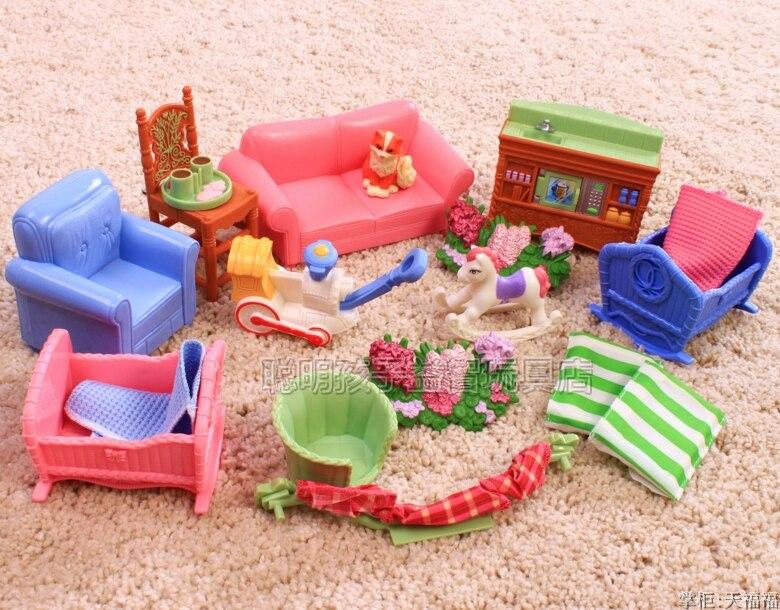 Exquis en plastique ensembles de meubles Villa Suite support filles jouent jouets maison cadeau