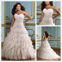 Plus size wedding dresses 2016 VESTIDO DE NOIVA sweetheart beaded ruched pleat organza bride dress pink Robe de mariage SH387