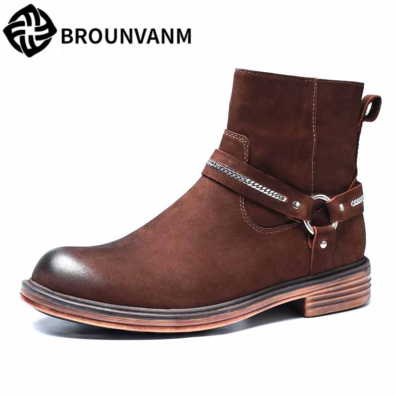 Chelsea boots men high top shoes Martin boots autumn winter British retro men's desert boots all-match cowhide Chelsea boots