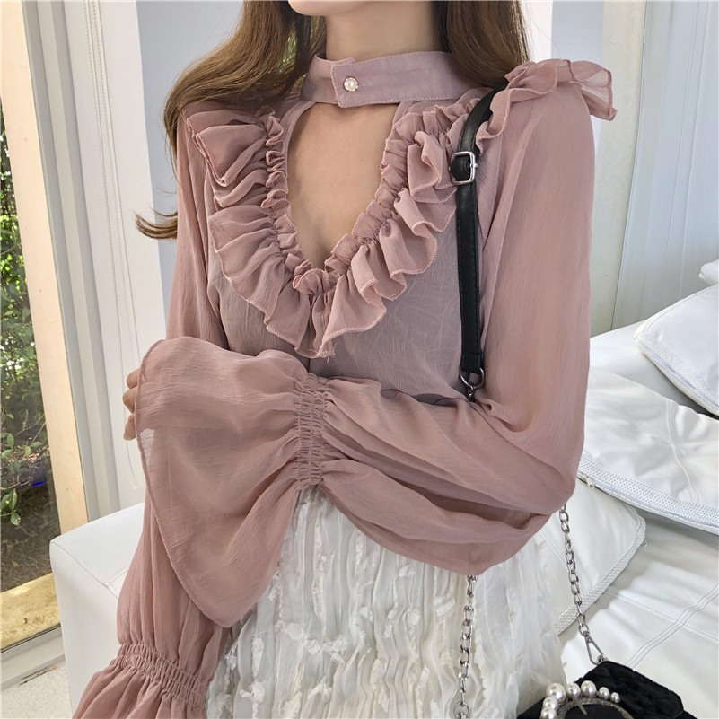 Korean girls chiffon shirt hollow pink autumn pullover tops ruffled loose sexy lace elegant college style office women blouse