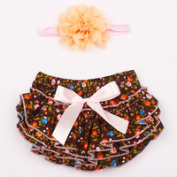 PP Shorts TUTU Skirt With Matching Head Band Baby Flower Short With Headband Baby Photography Props