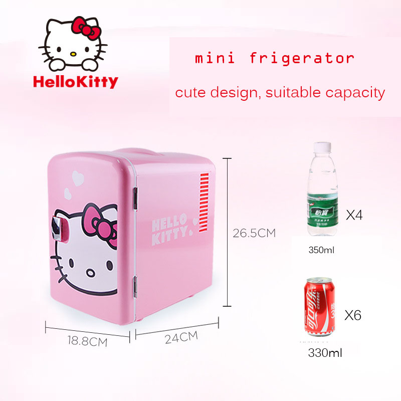 Hello Kitty USB Thermostat Car Refrigerator Compact Mini Fridge Frost Free ABS Safe Material Cold Freezer Travel Appliance Tool