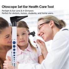 Otoscope סט פנס אוזן בריאות טיפול רפואי ציוד אבחון פנס & מגדלת לן & 4 הבזקים
