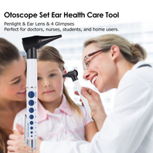 Otoscope Set Penlight Ear Health Care Medical Equipments Diagnostic Flashlight & Magnifying Len & 4 glimpses