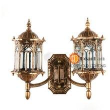 Винтажном стиле бронзовый два слышат бра водонепроницаемый наружный настенный светильник современные железный бра бесплатная доставка